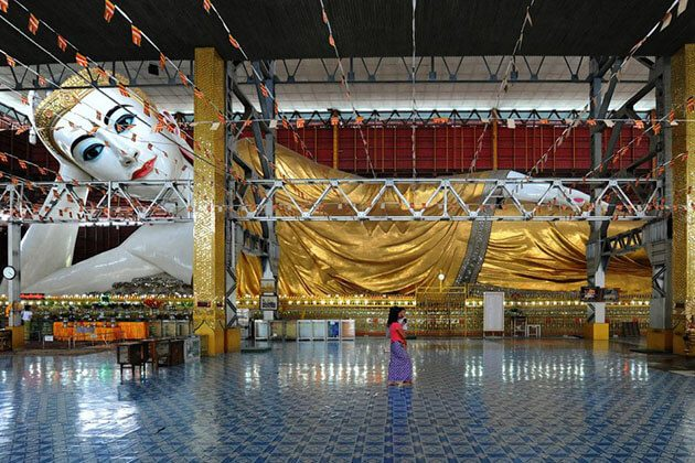 Chauk Htat Gyi pagoda is place to see one of the largest reclining buddha images in myanmar river cruises