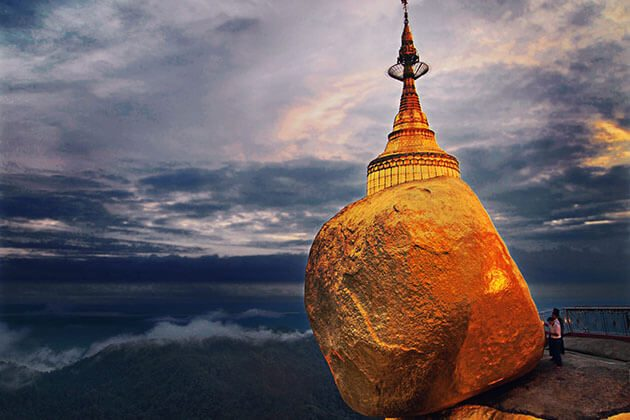 Golden Rock pagoda is a venerated Buddhist site in Myanmar