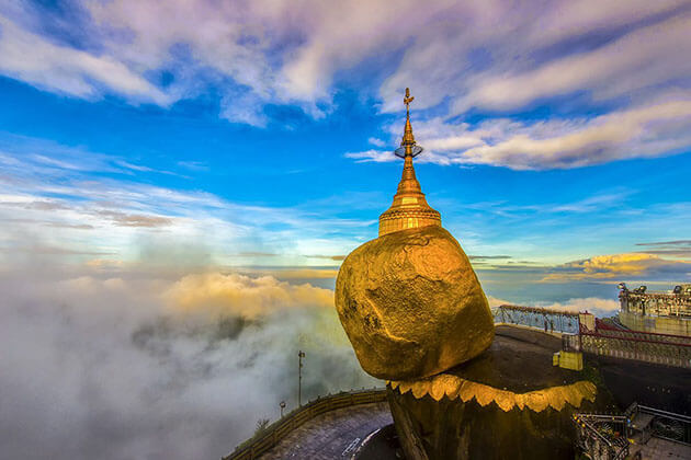Golden rock - dramatic attraction for river cruise burma