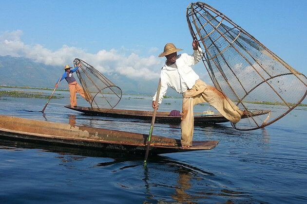 Inle lake fishermen is an iconic image you will see on Inle Lake