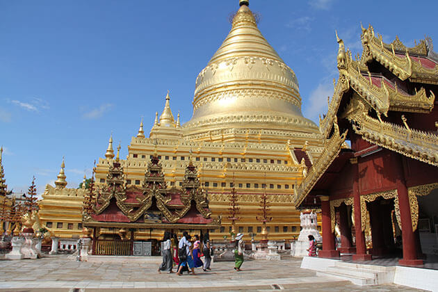 Shwezigon pagoda - one of the must-see attractions for Myanmar river cruise