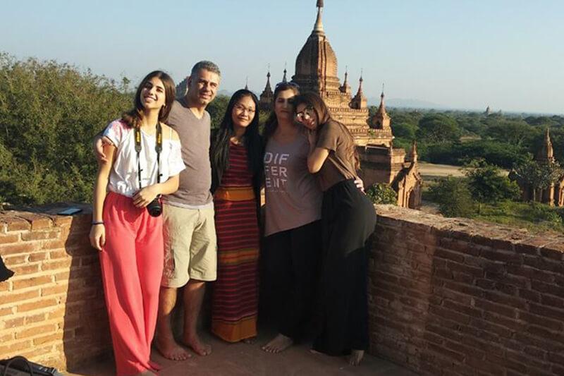 Tourists enjoy their Myanmar river cruise in Bagan