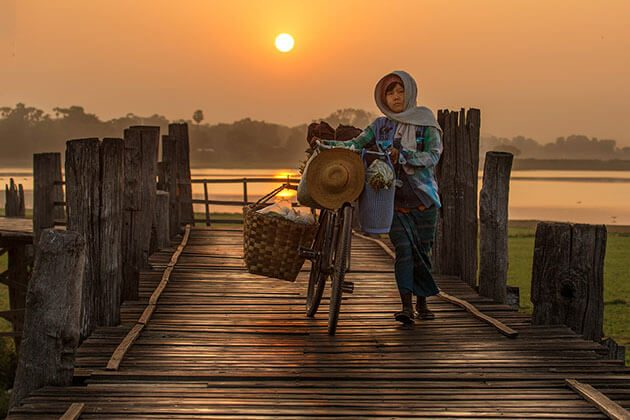 U Bein Bridge - great place to watch sunset in myanmar river cruise