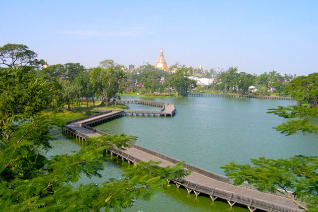 the serene Kandawgyi lake is the best photo stop in yangon