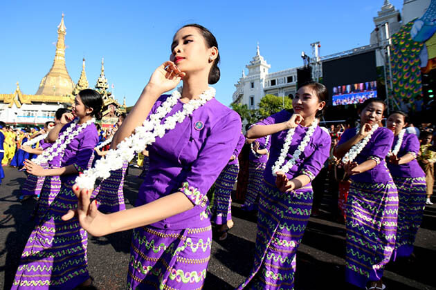 traditional performance for Myanmar traditional water festival